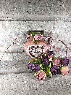 Vasetto a forma di cuore con candela personalizzabile San Valentino Festa della Mamma Grazie Auguri Compleanno Anniversari...
