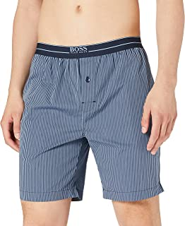BOSS Mens Urban Shorts Button-Fly Pyjama Shorts in Checked Cotton poplin