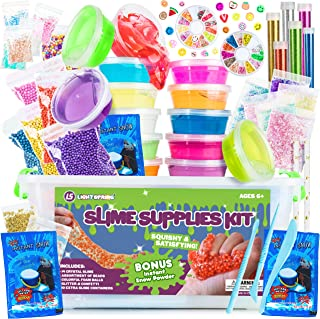 DIY Slime Supplies Kit for Girls Boys - Clear Slime Making Kit with Crystal Slime, Foam Balls, Crunchy Fishbowl Beads, Instant Snow, Glitter, Stars, Fruit Slices, Containers - Kids Slime Kits for Kids
