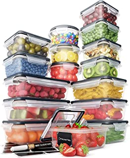 Food Storage Containers Set - Airtight Plastic Containers with Easy Snap Lids (16 Pack) - Leak Proof Kitchen & Pantry Orga...
