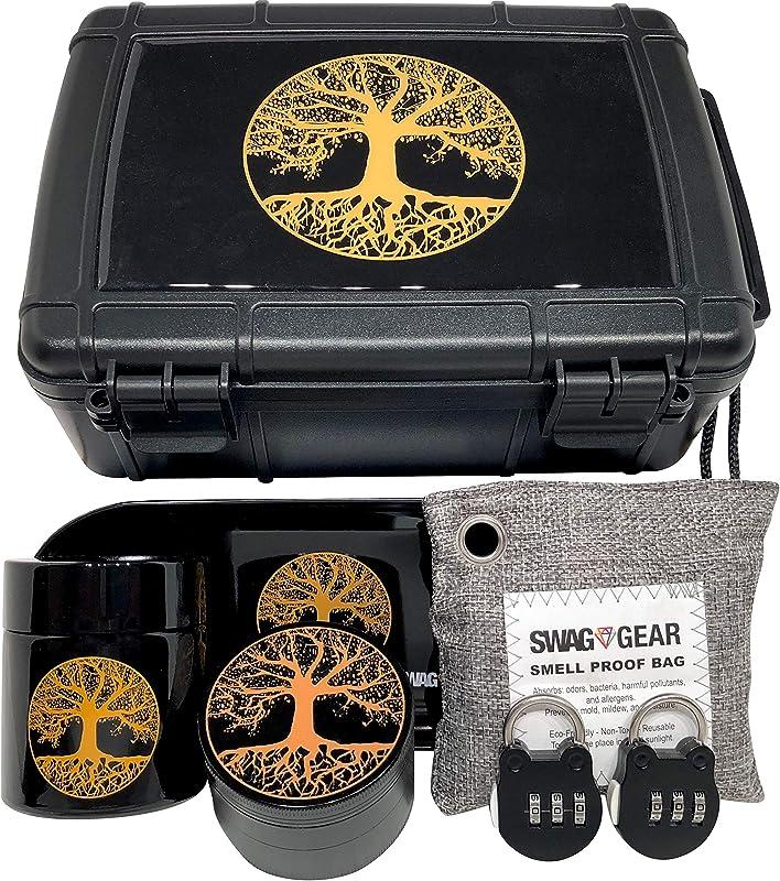 Tree Of Life Stash Box Combo Smell Proof Stash Box Combo Locking Stash Box Combo Comes With Grinder Stash Jar And Rolling Tray Tree Of Life