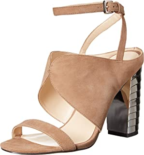 Dulce Diva Suede Leather Square Toe Mid Heel Rhinestone Heeled Sandals for Women Fashion