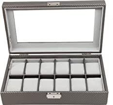 12 Piece Pewter Carbon Fiber Watch Display Case Men's or Ladies Watch Box Jewelry Glass Top