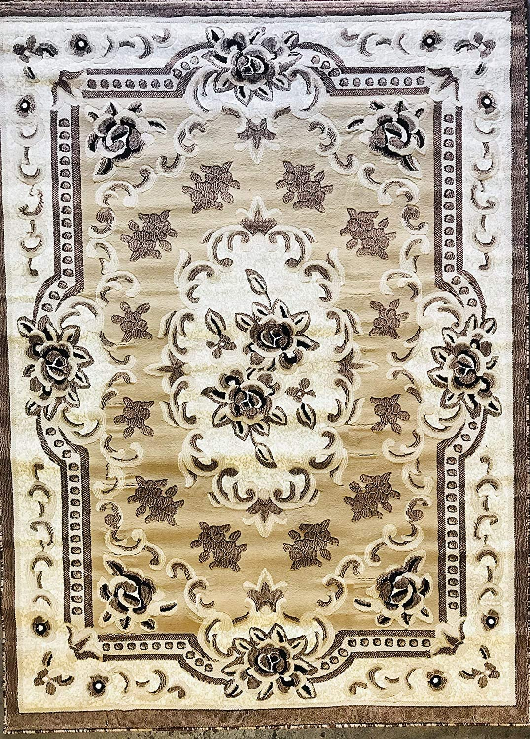Traditional Aubusson 1 year warranty Finally resale start Persian Floral Area Ivory Beige Rug Brown