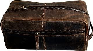 Men's Genuine Leather Toiletry Bag Waterproof Dopp Kit Shaving Bags and Grooming for Travel Groomsmen Gift Men Women Hanging Zippered Makeup Bathroom Cosmetic Pouch Case Make Up kit