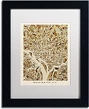 Washington DC Street Map 3 by Michael Tompsett, White Matte, Black Frame 11x14-Inch