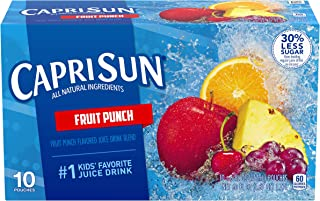 Capri Sun Fruit Punch Flavored Juice Drink Blend, 10 ct – Pouches, 60.0 fl oz Box (Pack of 4)