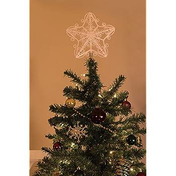 con brillantini 20 cm Puntale per albero di Natale a forma di stella colore: Bianco