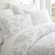 مجموعة أغطية اللحاف Simply Soft برسومات كرمة، مزدوج، رمادي