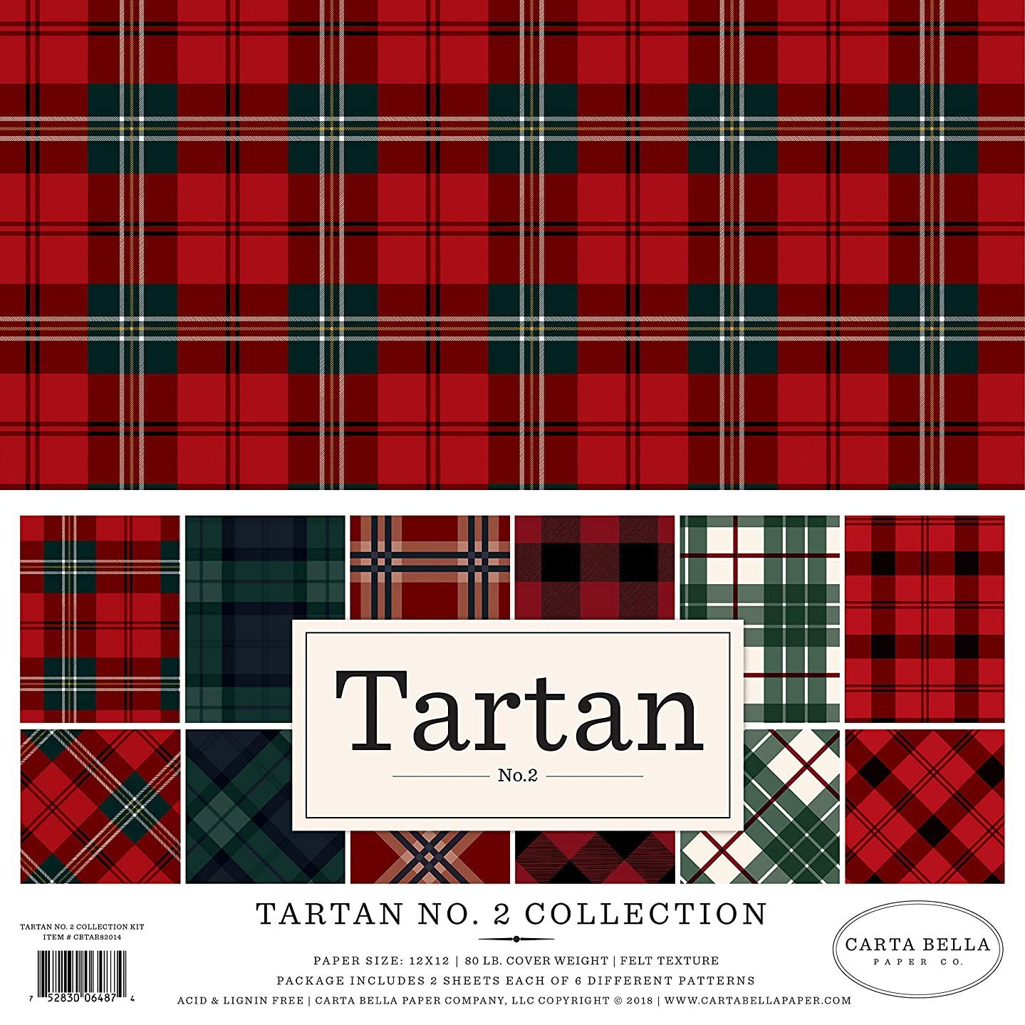 Carta Bella Paper CBTAR82014 Tartan no.2 Collection Kit Paper, Red/Green Navy/Black