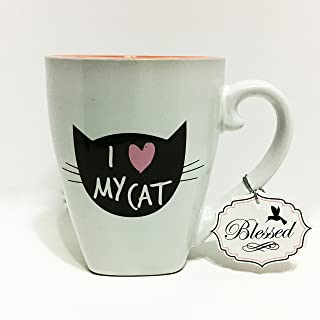 I LOVE MY CAT 20 Ounce Mug; Super Cute Mug with a silhouette of a cats head and whiskers with I HEART MY CAT inscribed it; Has CRAZY CAT LADY AND Heart at the bottom of the MUG