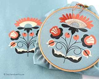 Modern Floral Embroidery Kit, FLOSSY FLORALS hand embroidery, pre-printed fabric for hand embroidery, AQUA BLUE