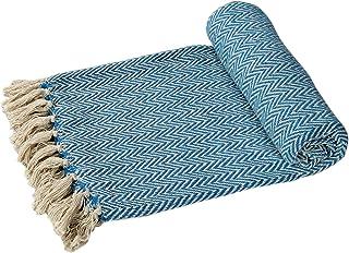 EHC Algodón sofás o Manta para Cama de Matrimonio Brazo Individual Doble para Silla Azul-
