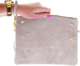 Italian Suede Leather Hand Made Fold Over Clutch, Wrist or Shoulder Bag. Branded Protective Storage Bag.