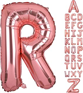 40 Inch Large Letter R Foil Balloons Rose Gold Alphabet Mylar Balloon for Birthday Party Decoration Wedding Decor Girls