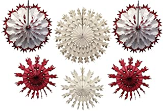 product image for 6-Piece Multi-Colored Tissue Paper Snowflake Party Decoration Kit (Maroon and White, 15-22 inches)