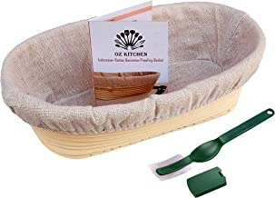 OZ KITCHEN'S Oval Bread Proofing Basket (25x15cm) with Bread Lame - Brotform Banneton Basket Handmade Unbleached Natural C...