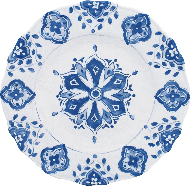 Le Cadeaux Mgoldccan bluee Melamine Dinner Plates - Set of 4