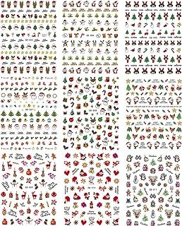 9 sheets Christmas Nail Stickers, Self-adhesive Xmas Snowman Santa Elk Christmas Tree Nail Art Sticker Decals Manicure Nail Tip Decoration