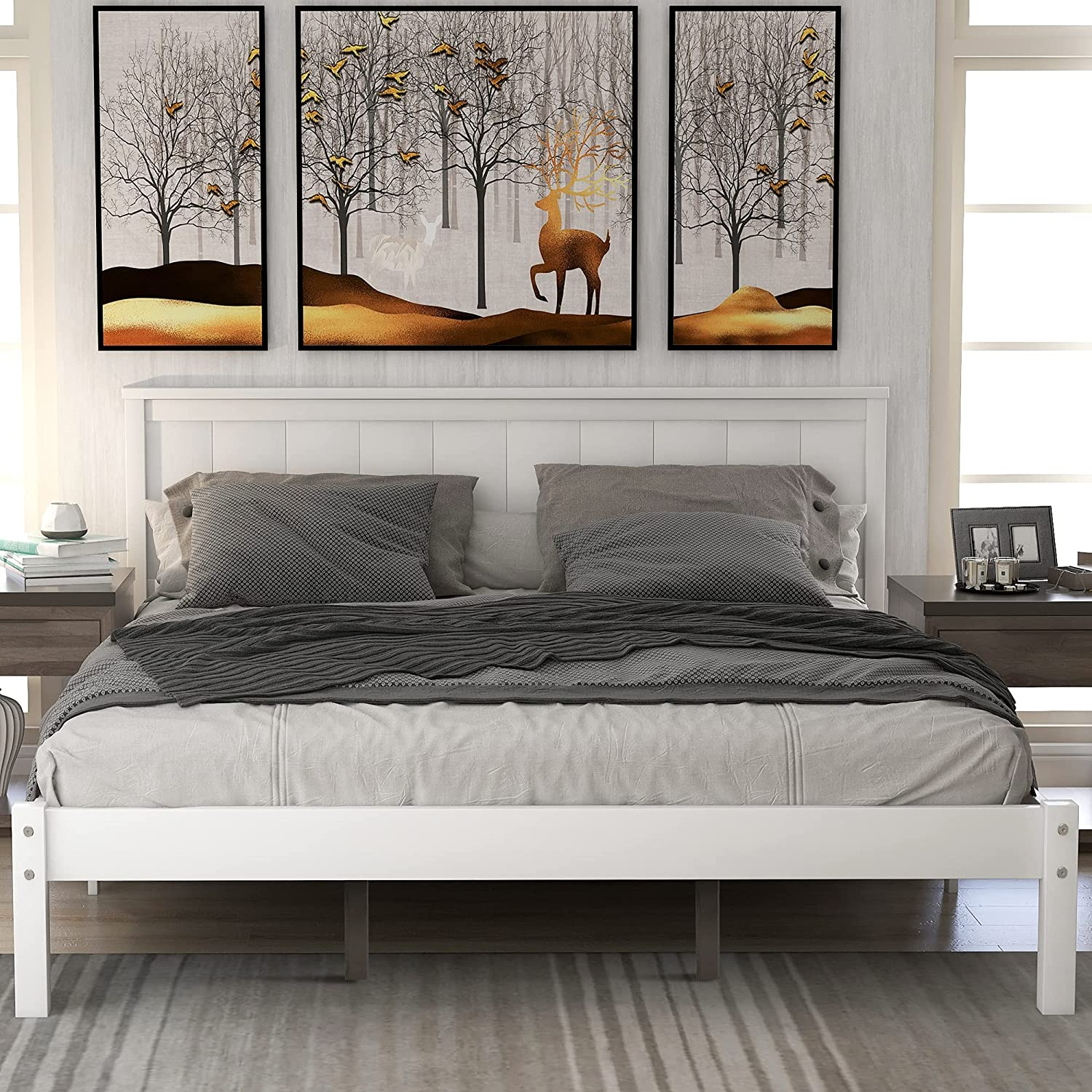 P PURLOVE Queen Size Platform Bed Headboard Wood Year-end gift with Pla 70% OFF Outlet Frame