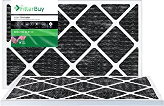 FilterBuy Allergen Odor Eliminator 14x25x1 MERV 8 Pleated AC Furnace Air Filter with Activated Carbon - Pack of 2-14x25x1