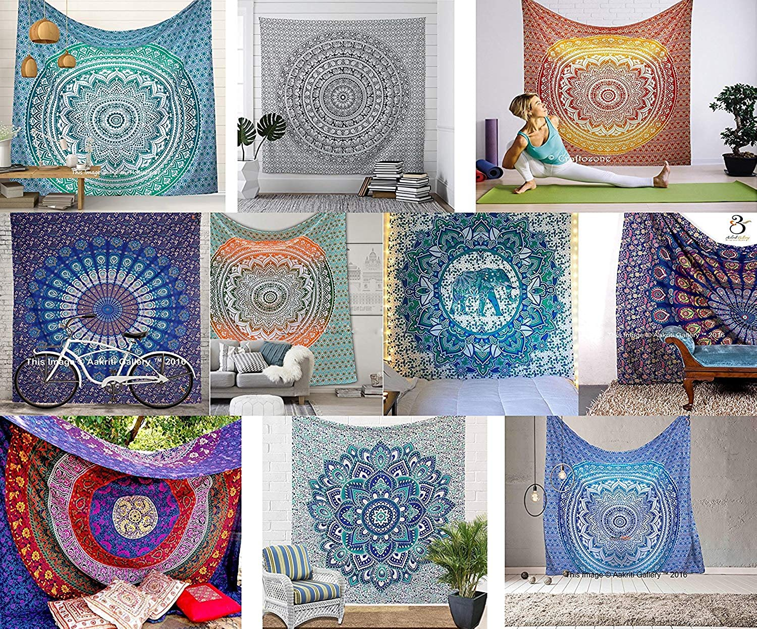 Aakriti Gallery Assorted Mix lot Tapestry Queen Hippie Flower Beautiful Artwork Wall Decor Mandala Beach Bedspread Intricate Indian Bedspread Tapestries 92x82 Inches (Lot of 20)
