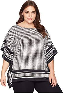 Plus Size Houndstooth Twill Top