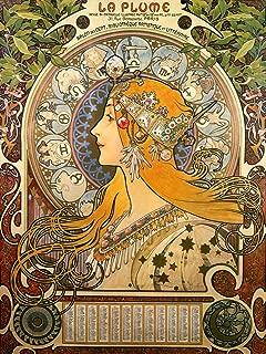 Vintage Posters La Plume: Salon des Cent - Aphonse Mucha French Zodiac Poster Reproduction (18
