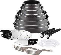 Tefal Ingenio Essential - Set de 8 piezas de aluminio con mango extraíble, sartenes de 22, 26 y 28 cm + Wok de 24 cm + cazos de 16, 18 y 20 cm + 2 tapas inox + 2 espátulas + 2 mangos intercambiables
