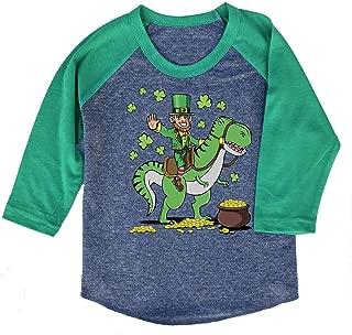 St. Patrick's Day Dinosaur Kids T-Shirt/or Unisex 3/4 Sleeve Baseball Tee