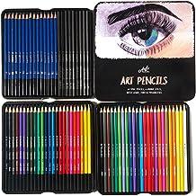 Art Pencils Drawing Set – 72 Pencil Art Supplies Kit w/ 15 Sketching, 24 Color, 24 Watercolor & 9 Charcoal Pencils. For Be...