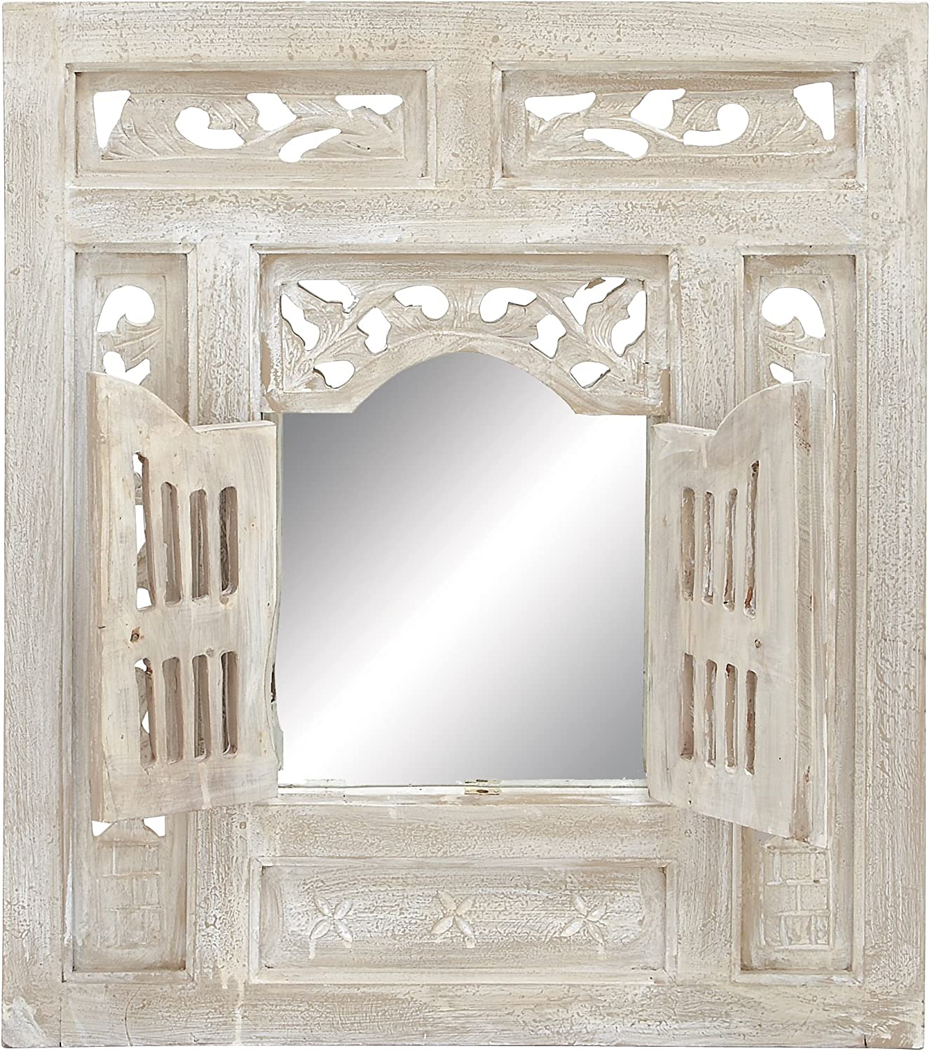 Benzara Deco Wood Mirror Decor, 28 by 24-Inch