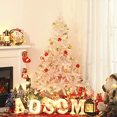 HOMCOM 5ft Artificial Christmas Tree Holiday Home Decoration with Metal Stand, Automatic Open, White and Pink
