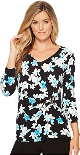 Calvin Klein 3/4 Print Wrap Top w/ Circle Hardware
