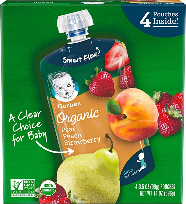 Gerber Purees Organic 2nd Foods Baby Food Pear Peach Strawberry 14 Oz 4 Ct