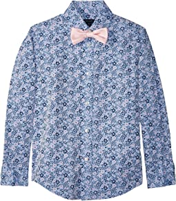 Tommy Hilfiger Kids - Long Sleeve Floral Print Shirt w/ Bow Tie (Big Kids)
