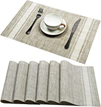 Placemats Set of 6, U'Artlines Soft Woven Vinyl Placemats for Home, Kitchen,Office SND Outdoor Elegance and Simple Design ...