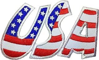 USA American Alphabet Flag Patch Sew Iron on Applique Embroidered Emblem Badge Patch By Ranger Return (IRON-USA-ALPHABET-002)