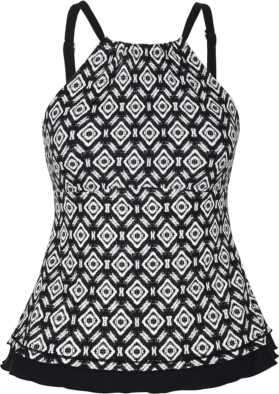 coastal rose Women's Swimsuit High Neck Tankini Top Contrast Color Ruffled Hem Swimwear US8 Black Diamond Flower