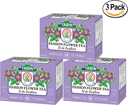 3 PACK Tadin Tea, Pasiflora - Passion Flower Tea, 72 Tea Bags - Relax