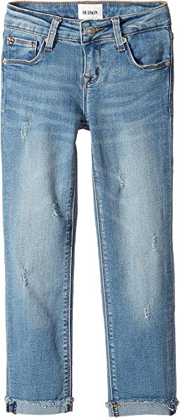 Hudson Kids - Shadow Girlfriend Mini Roll Cuff Jeans w/ Shadow Patch Pocket in Breeze (Big Kids)