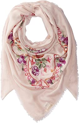 Collection XIIX - Swirly Floral Embroidered Square