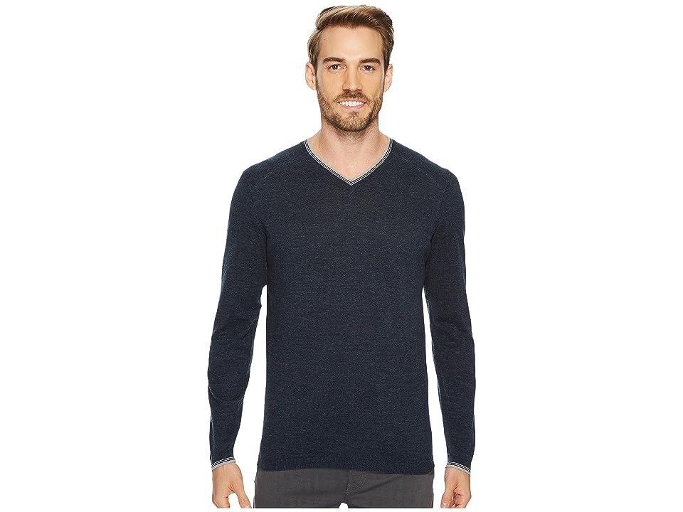 Agave Denim Fin Long Sleeve V-Neck 14GG Sweater (Blue Nights) Men
