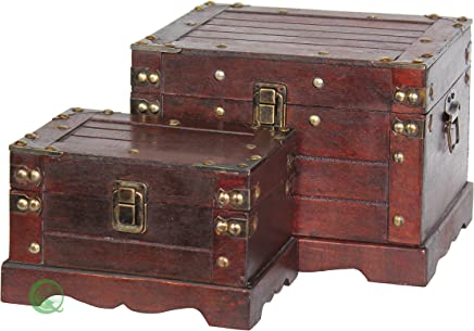 Vintiquewise(TM) Old Style Wooden Chest,  Small,  Set of 2