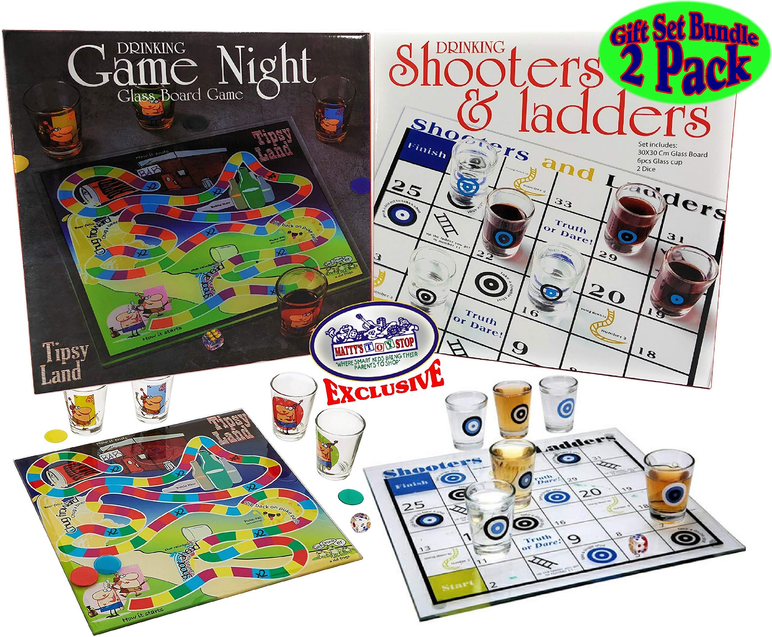 Mattys Toy Stop Deluxe juegos de bebida Tipsy Land y Shooters & escaleras Set de regalo – 2 Pack (incluye tablas de vidrio, vasos de chupito y dados): Amazon.es: Juguetes y juegos