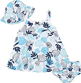 Baby Girls' 3-Piece Sundress, Diaper Cover and Hat Set