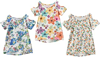 6f4823f708e91 IRELIA 3 Pack Girls Crew Neck Tee Short Sleeve Shirts with Cold Shoulder