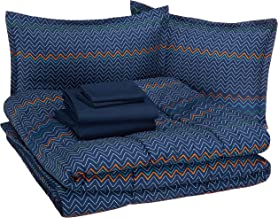 AmazonBasics Kid's Bed-in-a-Bag - Soft, Easy-Wash Microfiber - Full/Queen, Navy Zigzags