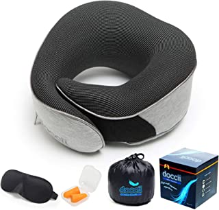 Neck Pillow for Traveling, Compact Memory Foam, Sweat-Resistant Fabric - Grey Ergonomic Pillows with Sleep Mask and Ear Pl...