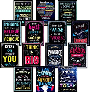 SIQUK 14 Pieces Motivational Wall Posters Inspirational Quotes Positive Posters Educational Posters 16 x 12 Inches for School, Classroom and Office